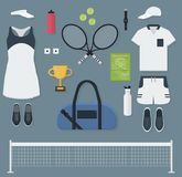 Tennisausrüstung in der flachen Art Stockfotos