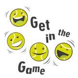 Tennisbälle und Text aufprallend, erhalten Sie in The Game Lizenzfreie Stockfotografie