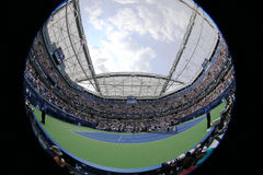 Tennisbaan in Billie Jean King National Tennis Center tijdens US Open 2015 Stock Fotografie