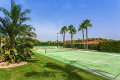 Tennisbaan in de tuin met palmen in Portugal royalty-vrije stock afbeeldingen