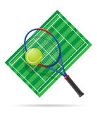 Tennisbaan vectorillustratie Stock Afbeeldingen