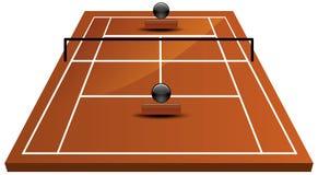 Tennisbaangebied in klei Royalty-vrije Stock Afbeeldingen