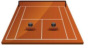 Tennisbaangebied in klei Royalty-vrije Stock Afbeelding