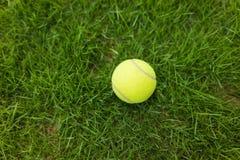Tennisbal op de groene achtergrond van het grasgebied Stock Afbeelding