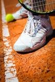 Tennisbal op Hof Stock Foto's