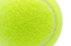 Tennisbal op witte achtergrond, Dichte omhooggaand, Texturen, Exemplaarruimte wordt geïsoleerd die stock foto's