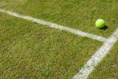Tennisball auf einem Rasenplatz Stockfoto