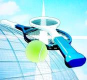 Tennisball und Schläger über Netz mit Hintergrundhimmel lizenzfreie abbildung