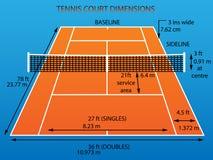 Tennisbana med mått stock illustrationer