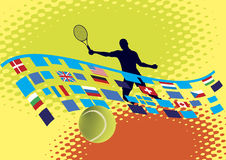 Tennisbana med nationella baner Royaltyfri Illustrationer