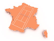 Tennisbana på 3d Frankrike Arkivfoto