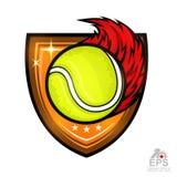 Tennisboll med brandslingan i mitt av skölden Sportlogo som isoleras på vit stock illustrationer