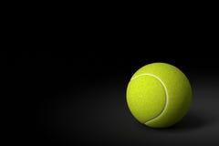 Tennisboll på svart bakgrund, tolkning 3D Arkivbilder
