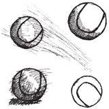 Tennisbollen skissar fastställt som isoleras på vit bakgrund Arkivfoto