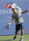 Tennisbus Margus Norman van Zweden die Grote Slagkampioen Stanislas Wawrinka voor US Open 2014 trainen Stock Afbeeldingen