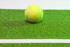 Tenniscoconcept. Bollen, linjen och grenn gräs tennis court.horizo Arkivbilder