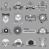 Tennisetiketten en kentekens Stock Afbeelding