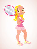 Tennisflicka stock illustrationer