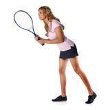 Tennisfrau, die Aufschlag erwartet Stockfoto