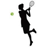 Tennisgestellballgrün Schwarzschattenbild der Sportlerin lokalisiert auf weißer Hintergrundvektorillustration Lizenzfreie Stockfotografie