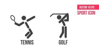 Tennisikone und Golfikone, Logo Stellen Sie von der Sportvektorlinie Ikonen ein Tennis- und Golfpiktogramm lizenzfreie abbildung