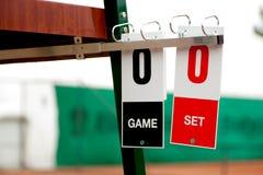 Tenniskort för starten av leken Arkivbilder
