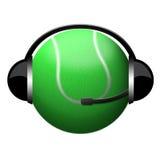 Tenniskugel-Kopfhörerzeichen Stockfotos