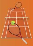 Tennislek - imaginär lek mellan två spelare Royaltyfri Foto