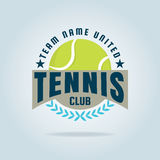 Tennislogo, Meisterschaft, Turnier, Abziehbild, Vektorillustration Lizenzfreie Stockbilder