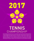 Tennislogo och textsammansättning för sporthändelse Royaltyfria Foton