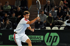 Tennisman Christoffer Konigsfeldt in action at a Davis cup match Stock Photography