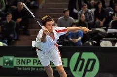 Tennisman Christoffer Konigsfeldt in action at a Davis cup match Stock Photos
