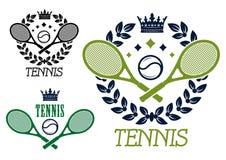 Tennismeisterschaftsembleme oder -ausweise Lizenzfreies Stockfoto