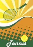 Tennisplakat Grüner Tennisschläger und -ball Abstraktes grünes backgro stock abbildung