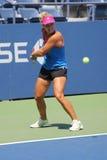 Tennisprofi Angelique Kerber von Deutschland übt für US Open 2015 Lizenzfreie Stockfotografie