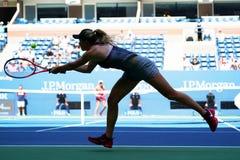 Tennisprofi Elina Svitolina von Ukraine in der Aktion während ihres Matches 2017 der US Open-zweiten Runde Lizenzfreie Stockfotos