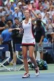 Tennisprofi Karolina Pliskova der Tschechischen Republik feiert Sieg nach ihrem runden Match vier an US Open 2016 Stockbild