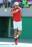 Tennisprofi Kei Nishikori von Japan in der Aktion während seines Männer ` s sondert Halbfinalspiel des Rios 2016 Olympische Spiel Stockfotos