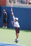 Tennisprofi Kei Nishikori von Japan während des Matches des US Open 2014 Lizenzfreies Stockbild
