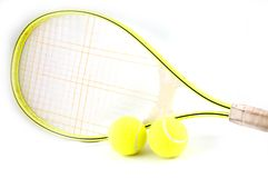 Tennisracket with balls Royalty Free Stock Photo