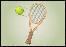 Tennisracket med bollen Royaltyfri Fotografi