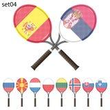 Tennisracket och flaggor Fotografering för Bildbyråer