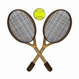 Tennisrackets en tennisbal Stock Foto's