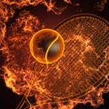 Tennisschläger im Feuer Lizenzfreie Stockfotos