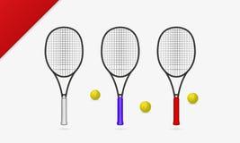 Tennisschläger mit Tennisballvektorillustration stockfoto