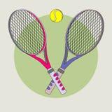 Tennisschläger und -kugel Stockfotos