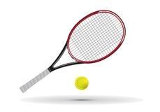 Tennisschläger und Kugelabbildung Stockfoto
