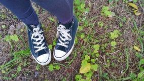 Tennisschoenen in een weide Stock Fotografie