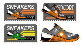 Tennisschoenen logotypes Royalty-vrije Stock Afbeeldingen