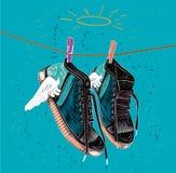 Tennisschoenen voor druk Klassieke tennisschoenen met vleugels royalty-vrije illustratie